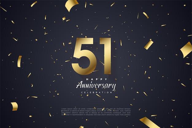 51e verjaardag met een plat numeriek ontwerp