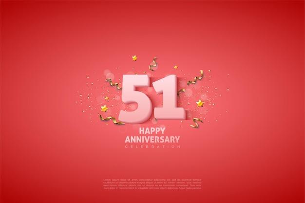 51e verjaardag met eenvoudige getallenillustratie