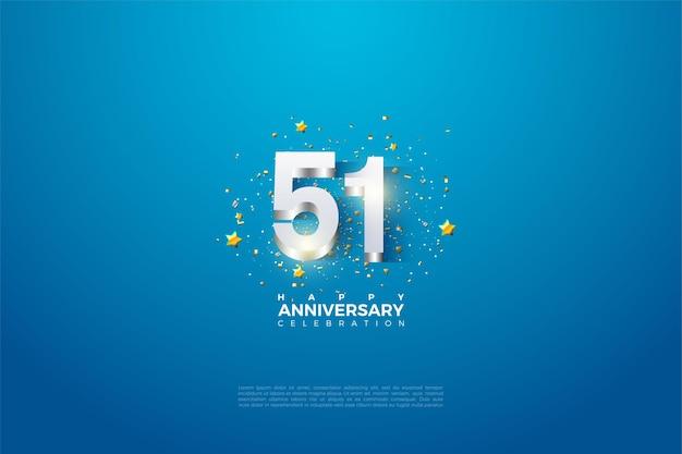 51e verjaardag met gearceerde 3d-nummers