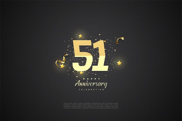 51e verjaardag met geïllustreerde cijfers numbers
