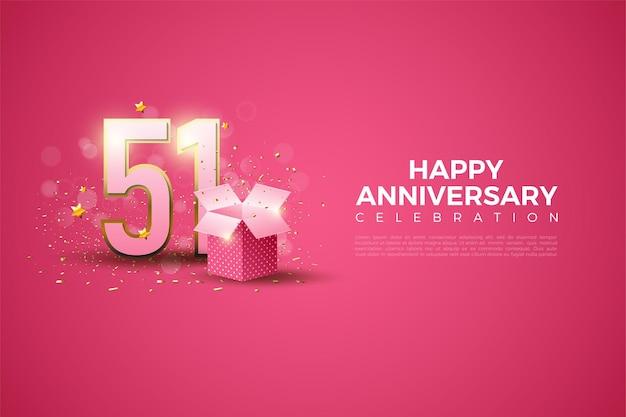 51e verjaardag met illustratie van geschenkdoos