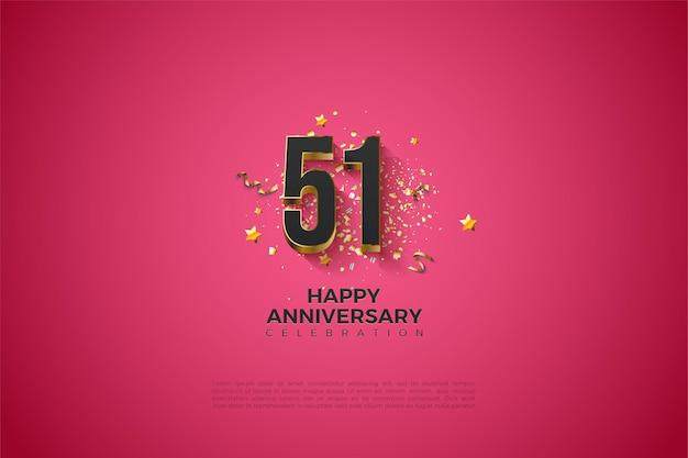51e verjaardag met vergulde cijfers
