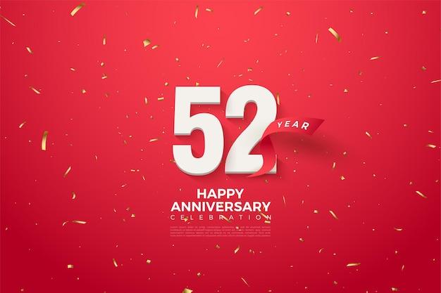 52e verjaardag met cijfers en rood lint