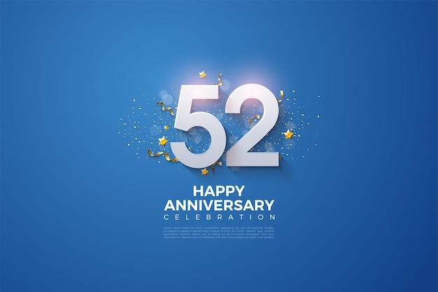 52e verjaardag met gearceerde 3d-nummers
