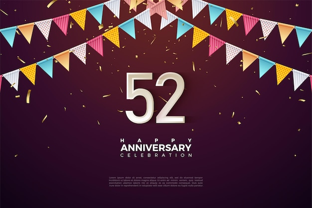52e verjaardag met kleurrijke cijfers en vlaggen
