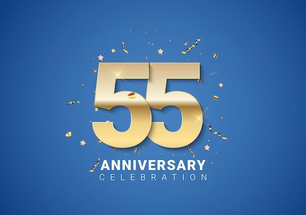 55 verjaardag achtergrond met gouden cijfers, confetti, sterren op heldere blauwe achtergrond. vectorillustratie eps10