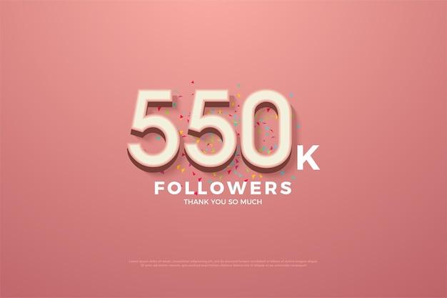 550k volgers achtergrond met kleurrijke cijfers en doodles