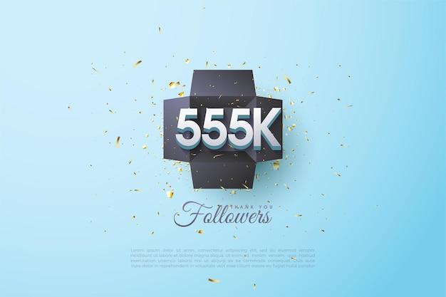555k volgers achtergrond met nummers in geschenkdoos