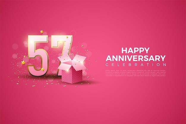 57 verjaardag met 3d-nummer eenvoudig ontwerp
