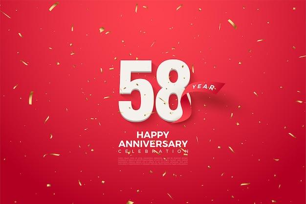 58e verjaardag met een rood lint achter de cijfers