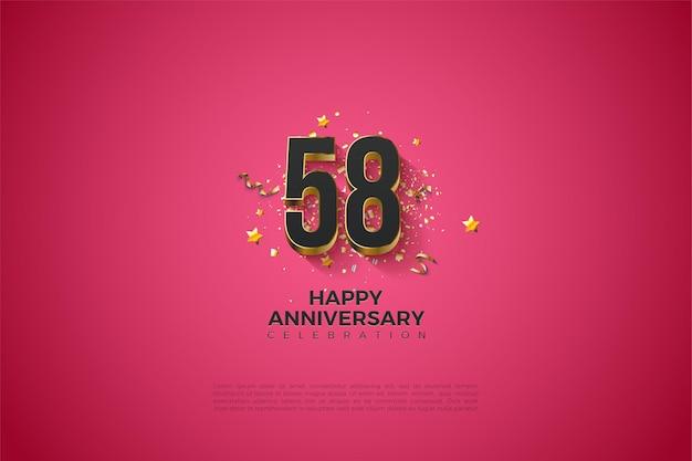 58e verjaardag met gouden nummerillustratie