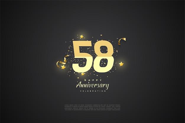 58e verjaardag met illustratie in kleurverloop