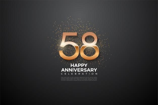 58e verjaardag met oplichtende cijfers