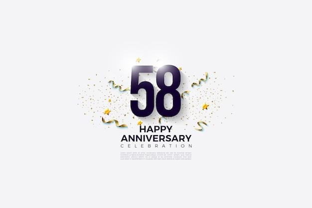 58e verjaardag met plat ontwerpnummer wit op zwart