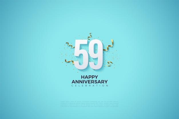 59-jarig jubileum met nummers en feestfestiviteiten