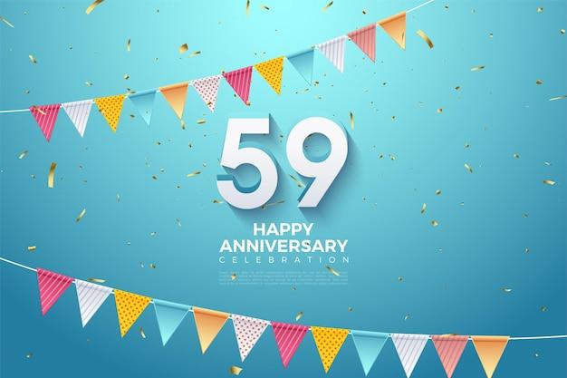 59e verjaardag met cijfers en rijen kleurrijke vlaggen