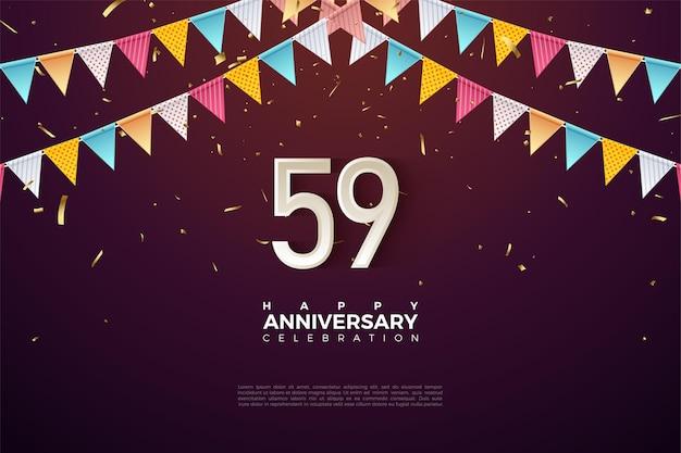 59e verjaardag met cijfers onder de vlag