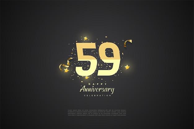59e verjaardag met gesorteerde nummers op een zwarte achtergrond