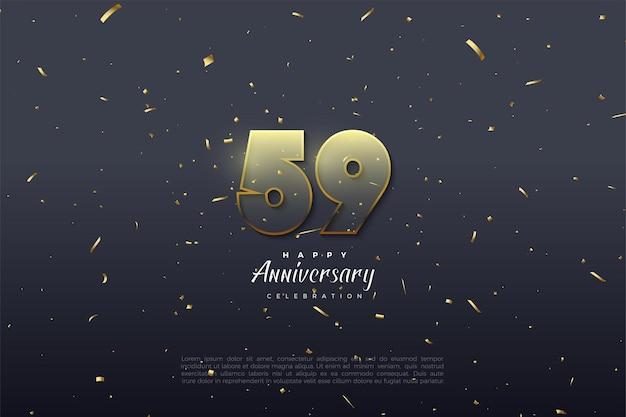 59e verjaardag met gloeiende transparante cijfers