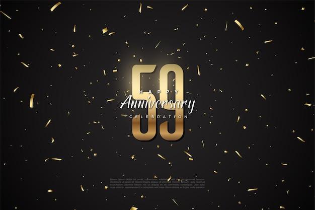 59e verjaardag met gouden cijfers en spelden