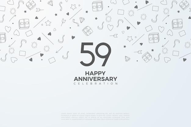 59e verjaardag met nummers op wit papier