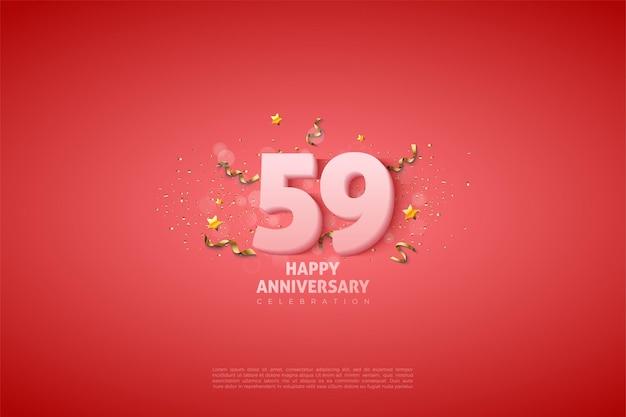 59e verjaardag met zachte witte cijfers