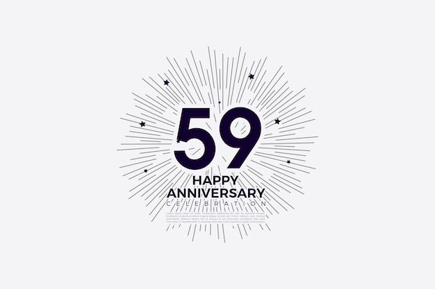 59e verjaardag met zwart op wit afbeelding