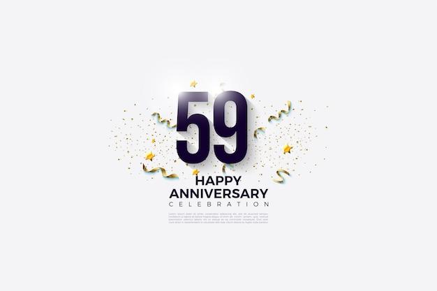 59e verjaardag met zwarte cijfers op gloeiende witte achtergrond