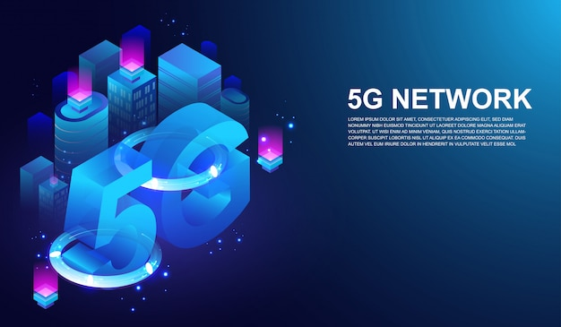 5e internet telecommunicatie op slimme stad concept