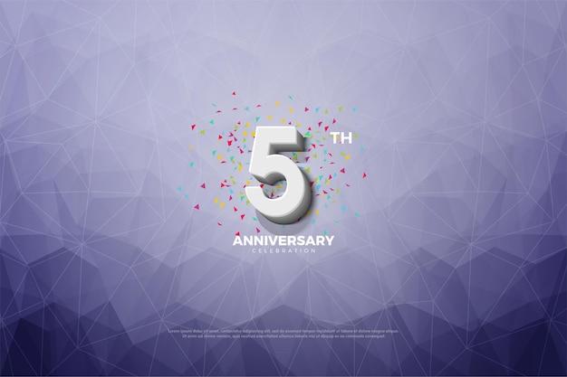 5e verjaardag met cijfers en met kristalpapier.