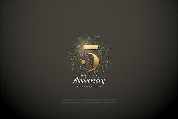 5e verjaardag met gouden cijfers en glitter op een vignet grijze achtergrond.