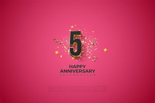 5e verjaardag met luxe vergulde cijfers.