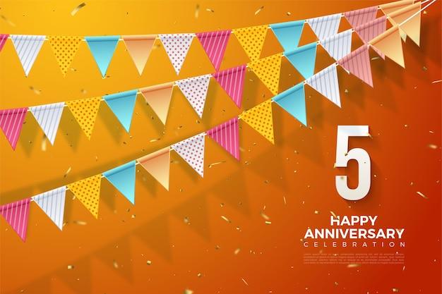 5e verjaardag met nummers aan de rechterkant en kleurrijke vlaggen bovenaan.