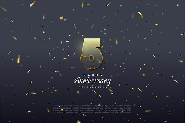5e verjaardag met transparante cijfers en goudbruine rand.