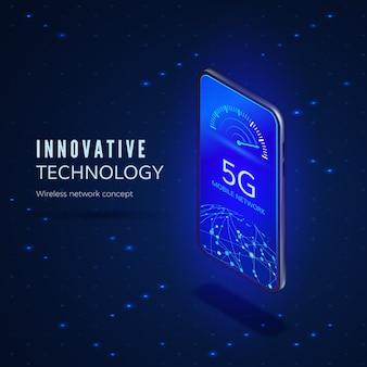 5g-banner voor netwerkinnovatietechnologie. mobiele telefoon met internetsnelheidsindicator en wereldwijd netwerk.