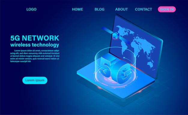 5g-communicatie via draadloze netwerktechnologie op computer. isometrische platte ontwerp illustratie
