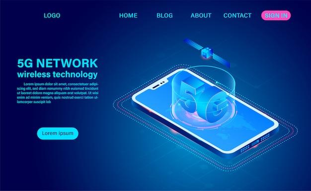 5g-communicatie via draadloze netwerktechnologie op mobiel. isometrische platte ontwerp illustratie