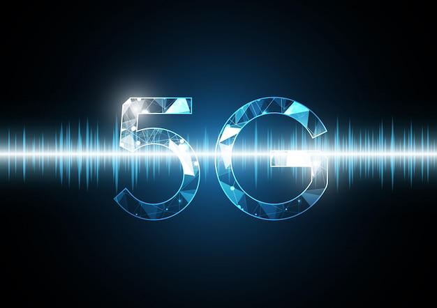 5g communicatietechnologie abstracte golfsignaal oscillerende achtergrond