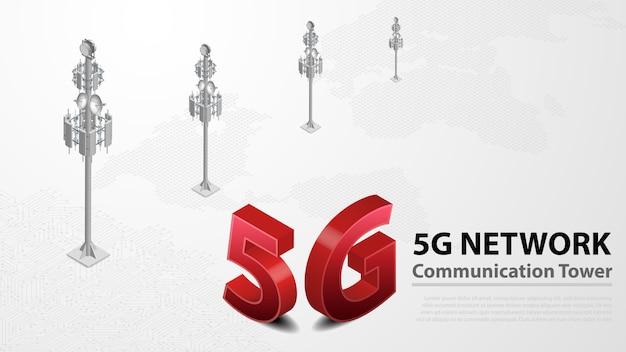 5g communicatietoren draadloos hispeed-internet met datacenter