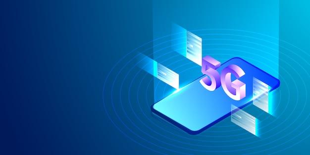 5g-de technologie van smartphonetwerk isometrisch concept.