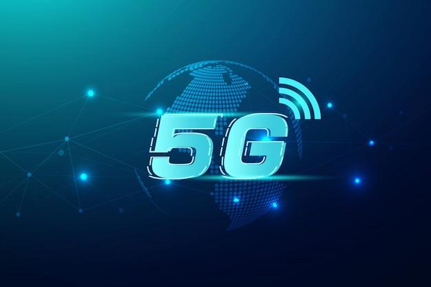 5g draadloos internet wifi verbinding concept. globale de innovatietechnologie van de netwerkhoge snelheid, vectorillustratie