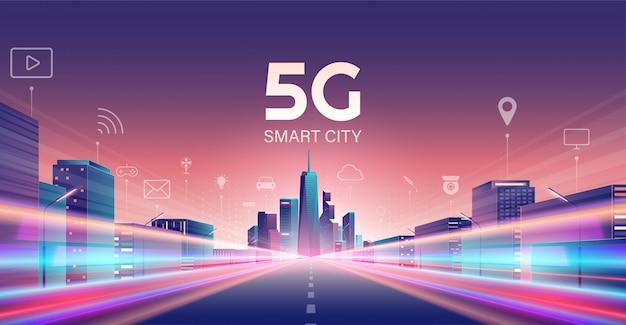 5g draadloos netwerk en smart city-concept.