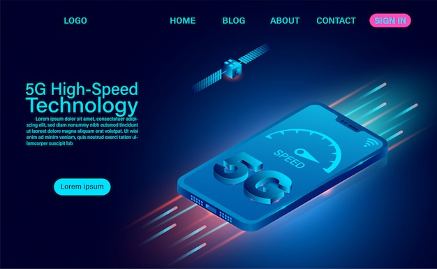 5g high-speed technologieconcept. netwerkcommunicatie draadloos internet. netwerkverbinding snelste internet. isometrische platte ontwerp illustratie