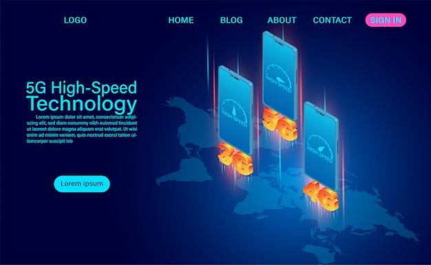 5g high-speed technologieconcept. netwerkcommunicatie draadloos internet. netwerkverbinding snelste internet wereldwijd. isometrische platte ontwerp illustratie