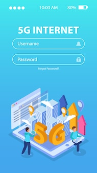 5g inlogscherm voor internetapp