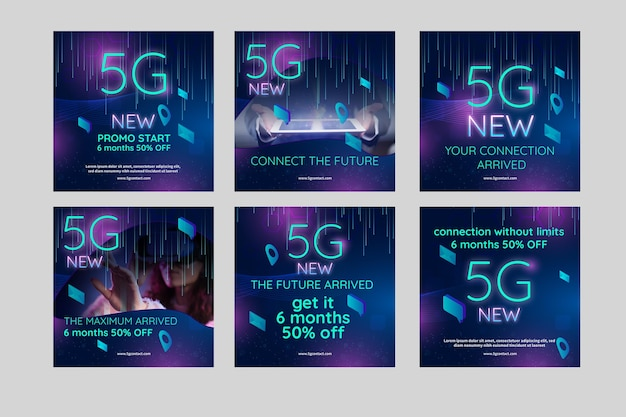 5g instagram posts concept