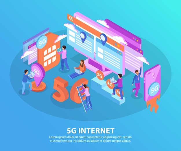 5g internet en elektronische gadgets isometrische elementen op blauwe achtergrond