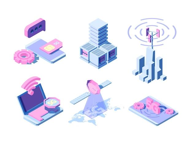 5g isometrisch. telecommunicatie industriële innovatie draadloze wereld verschillende gadgets online wolken smartphone.
