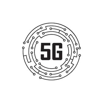 5g logo netwerk snelheid circuit technologie illustratie in geïsoleerde witte achtergrond, breedband telecommunicatie draadloos internet concept