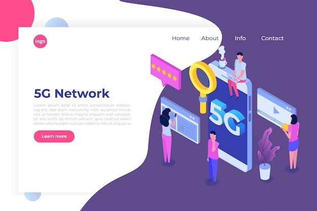 5g-netwerk draadloze systemen, isometrisch concept voor snel mobiel internet.